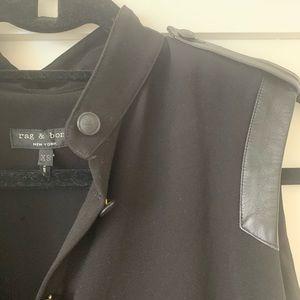 Rag & Bone Leather Trimmed Blouse